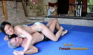 Turquoise bikini horny white wife wrestles old fellow