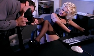 Secretary dream sex in nylons and a garter