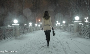 Jeny smith naked in snow fall walking throughout the town