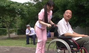 Subtitled extraordinary japanese half exposed caregiver outdoors